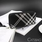 Catsbag|經典黑白格紋雙層多隔間多功能長夾|WT020213