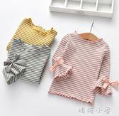 女童打底衫2018秋季新款寶寶木耳邊棉T恤中小童韓版喇叭長袖上衣 嬌糖小屋