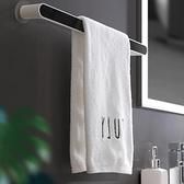 毛巾架 毛巾架免打孔衛生間浴室吸盤掛架浴巾架子北歐簡約創意單桿置物桿【快速出貨八折鉅惠】