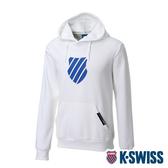 K-SWISS Shield Logo Hoodie刷毛連帽上衣-男-白