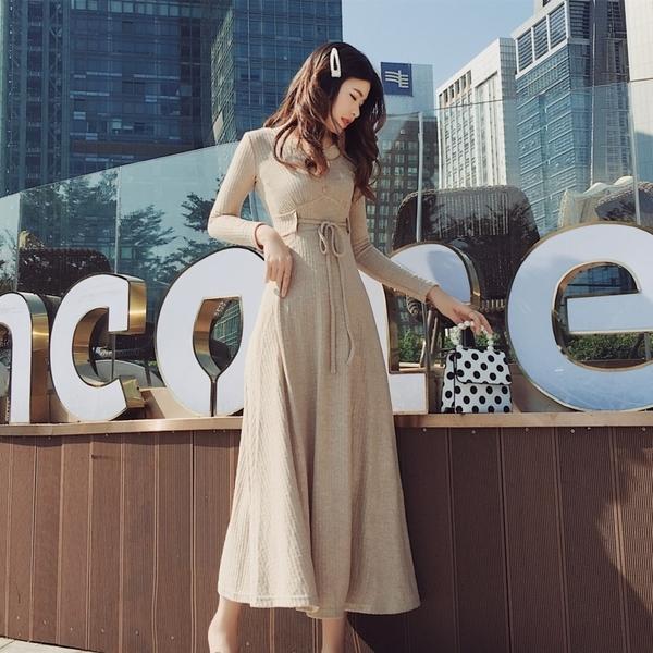 VK旗艦店 韓系復氣質抽繩高腰V領優雅長版長袖洋裝