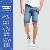 Levis 男款 505寬鬆直筒牛仔短褲 / Cool Jeans 輕彈有型 / 水藍刷白
