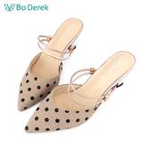 Bo Derek 復古波點2way高跟涼鞋-粉色