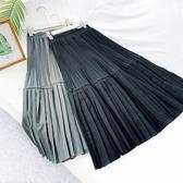 長裙 素色 百褶裙 雙層 拼接 A字裙 氣質 鬆緊腰 長裙【HA496】 icoca  09/05