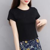 短袖T恤 夏季2020新款純棉t恤女短款黑色百搭高腰短袖露腰上衣服漏臍修身