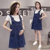 漂亮小媽咪 韓系兩件式洋裝 【D0703UK】 兩件式 牛仔裙 白T恤 孕婦裝 吊帶裙 背心裙洋裝 []