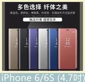 iPhone 6/6S (4.7吋) 電鍍鏡面皮套 側翻皮套 半透明 支架 免翻蓋 包邊 皮套 時尚簡約 保護套 手機殼