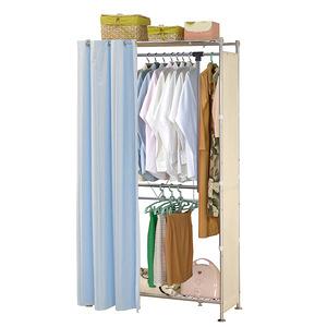 巴塞隆納─AG-02上下層板伸縮衣櫥B款V型設計強化結構前布簾水藍色不織布