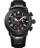 AEROWATCH 都會仕紳三眼計時腕錶-黑x黑框 A83939NO05