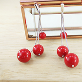 【粉紅堂 飾品】生日禮物 瑪瑙珠 925純銀耳環 *紅色*