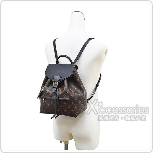 LV M45515 MONTSOURIS PM花紋LOGO牛皮扣式束口後背包(咖啡x黑)