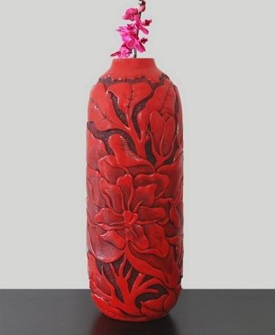【協貿國際】中式創意花瓶花影長形圓柱