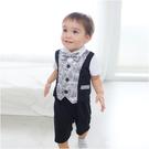 短袖連身衣 假三件 紳士造型 爬服 哈衣 男寶寶 小紳士 小花童 Augelute Baby 60239