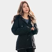 秋冬--保暖舒適毛領內裡加絨皺褶羅紋口袋寬鬆綁腰修身連帽外套(黑L-4L)-J257眼圈熊中大尺碼◎