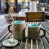 全館79折-時間,這條溫柔的長河 日式文藝馬克杯子 帶蓋勺 仿樹皮陶瓷水杯