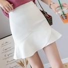 魚尾裙 短裙小個子顯高包臀裙A字白色魚尾半身裙褲荷葉邊女夏高腰150cm-Ballet朵朵