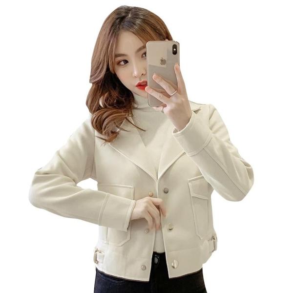 促銷 麂皮絨外套女秋季新款韓版寬松百搭時尚潮流短款夾克機車上衣