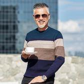 店長推薦冬季加厚中老年圓領套頭毛衣男中年男保暖打底針織衫40-50爸爸裝