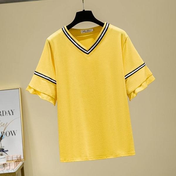 XL-4XL胖妹妹大碼短T~胖MM200斤加肥加大大碼女裝顯瘦短袖t恤上衣5F044B衣時尚