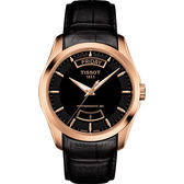 TISSOT 天梭 Couturier 建構師80小時動力儲存機械手錶-黑x玫塊金框/39mm T0354073605101
