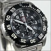 【萬年鐘錶】LUMINOX 雷明時 鐵漢系列鋼鍊腕錶 專業三眼計時碼錶 黑X黑 43mm LM-A3182