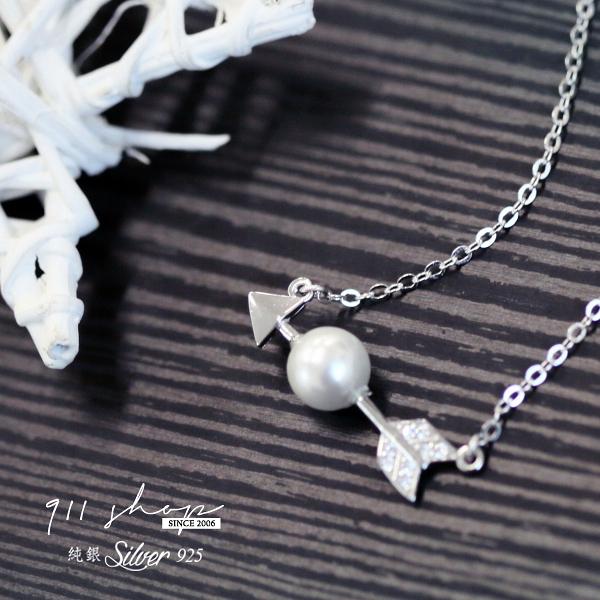 Brisk.925純銀珍珠穿箭短項鍊鎖骨鏈【s156】*911 SHOP*