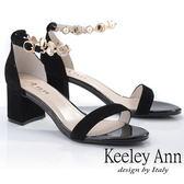 ★2019秋冬★Keeley Ann簡約一字帶 氣質水鑽中跟真皮涼鞋(黑色) -Ann系列