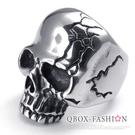 《 QBOX 》FASHION 飾品【R10022466】精緻龐克風粗曠裂紋骷髏頭鑄造鈦鋼戒指/戒環