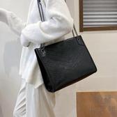 高級感大包包女側背百搭時尚容量女鏈條斜背包【極簡生活】