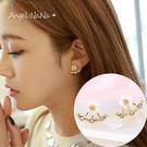 銀針耳環。AngelNaNa 韓 小雛菊 花朵 後扣式 防過敏 女 耳釘 (SRA0019)
