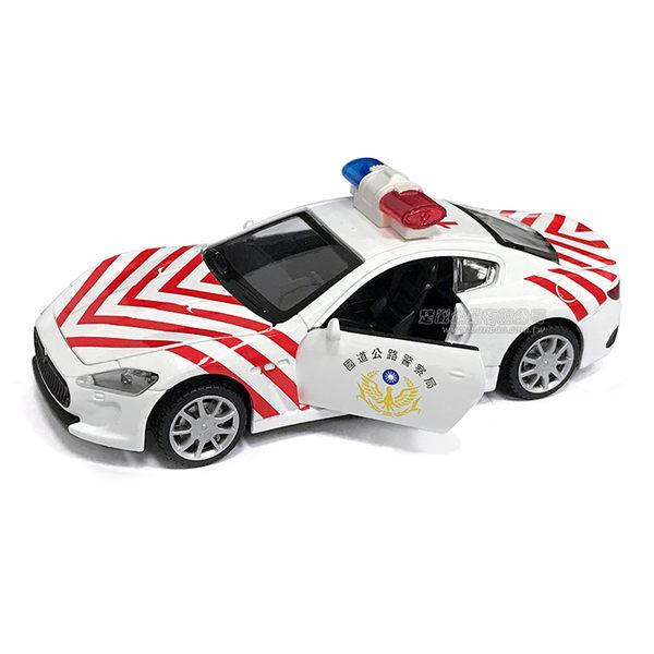 HY ALLOY華一 TJ6802 台灣國道警車 聲光迴力車 模型車 交通巡邏車 瑪莎拉蒂車型(1:32)【楚崴玩具】