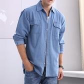 牛仔襯衫男士牛仔襯衫 季長袖大碼棉質襯衣薄款防曬服素面青年男裝
