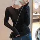 长袖上衣 长袖T恤女修身显瘦打底衫纯色长袖打底衫上衣T305 韩依纺