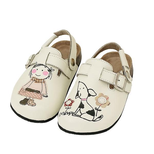 【Jingle】豆花妹與101忠狗前包後空軟木休閒鞋(經典白兒童款)