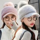 冬季甜美毛線鴨舌帽 加厚保暖護耳 MZ1093 毛線帽 保暖 冬季帽 針織帽 鴨舌帽 女帽