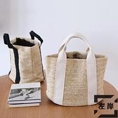休閒草編包飯盒袋子手提便當包戶外度假野餐手拎袋【左岸男裝】