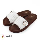 Paidal 搖滾鉚釘扣環厚底一片式美型拖-白