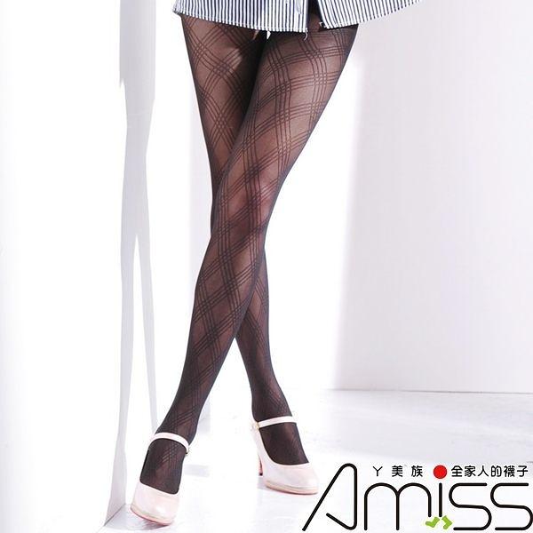 Amiss-襪子團購網♥【A133-9】流行花紋褲襪-方格