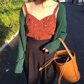 春季韓版chic純色單排扣休閒短款毛衣外套薄款針織披肩開衫女  樂芙美鞋