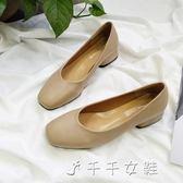 春方頭單鞋平底淺口低跟粗跟奶奶鞋復古小皮鞋工作鞋黑色上班女鞋「千千女鞋」
