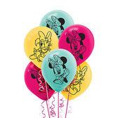 迪士尼 氣球 12吋乳膠氣球6入-米妮快樂幫手