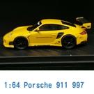 PC CLUB 1/64 模型車 Porsche 保時捷 911 997 PC640002F 黃色