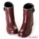 amai SGS認證-金屬釦環中筒工程雨靴 酒紅