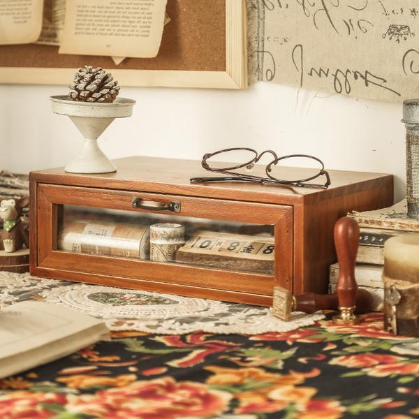 【BlueCat】單抽屜 復古仿舊收納實木櫃 木架 木盒 收納櫃 置物架 展示架 櫃子