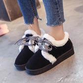 低筒短筒翻毛面包鞋雪地靴女冬系帶防滑學生雪地鞋加棉鞋保暖 樂芙美鞋