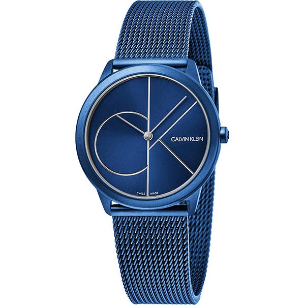 Calvin Klein CK Minimal 經典大LOGO手錶-藍/35mm K3M52T5N