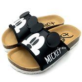 《7+1童鞋》迪士尼 MICKEY MOUSE 類伯肯 休閒舒適 可愛好穿 E011 黑色