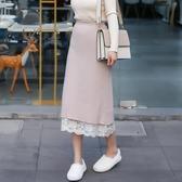 針織半身裙 兩面穿秋冬針織半身裙女蕾絲中長款長裙網紗A字遮胯顯瘦 暖心生活館