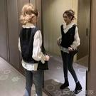 兩件套 秋季新款韓範雪紡襯衫女長袖針織馬甲背心套裝減齡氣質兩件套 萬聖節 【618特惠】
