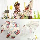 兒童雨傘直桿寶寶卡通晴公主傘男女童韓國大花長柄遮陽傘 igo蘿莉小腳ㄚ